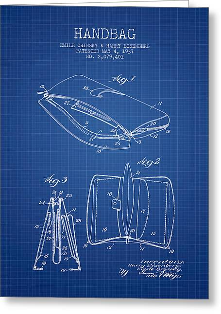 Handbag Greeting Cards - Handbag patent from 1937 - Blueprint Greeting Card by Aged Pixel
