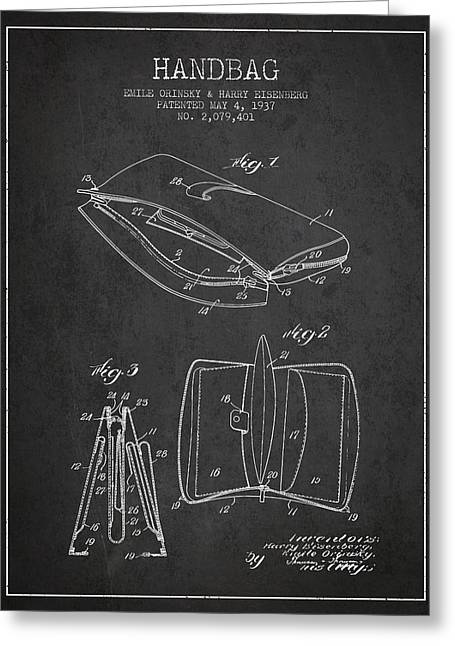 Handbag Greeting Cards - Handbag patent from 1937 - Charcoal Greeting Card by Aged Pixel