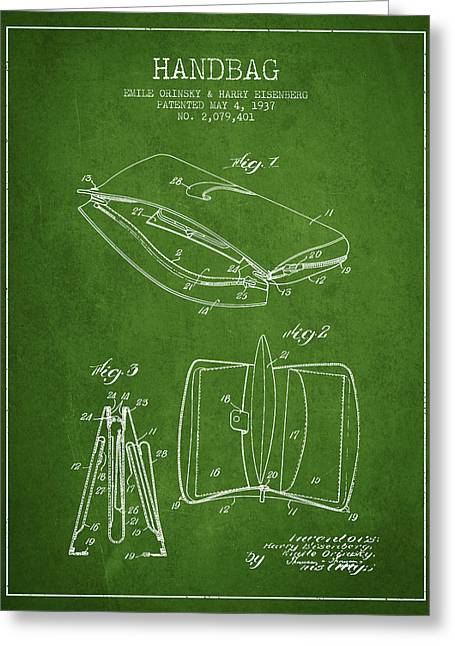 Handbag Greeting Cards - Handbag patent from 1937 - Green Greeting Card by Aged Pixel