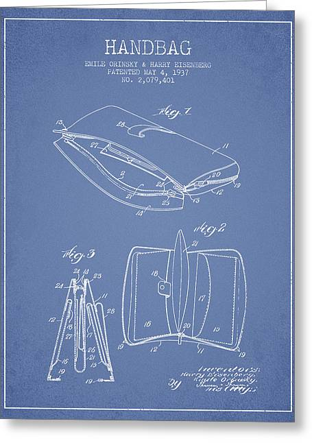Handbag Greeting Cards - Handbag patent from 1937 - Light Blue Greeting Card by Aged Pixel