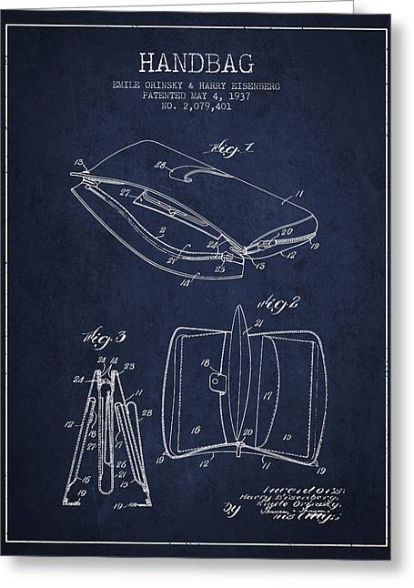 Handbag Greeting Cards - Handbag patent from 1937 - Navy Blue Greeting Card by Aged Pixel