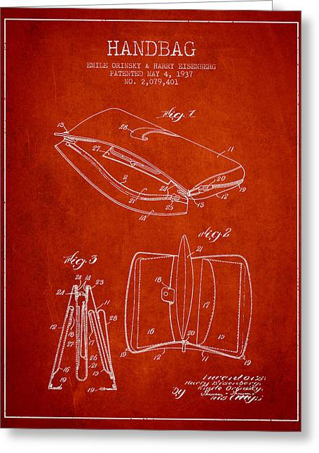 Handbag Greeting Cards - Handbag patent from 1937 - Red Greeting Card by Aged Pixel