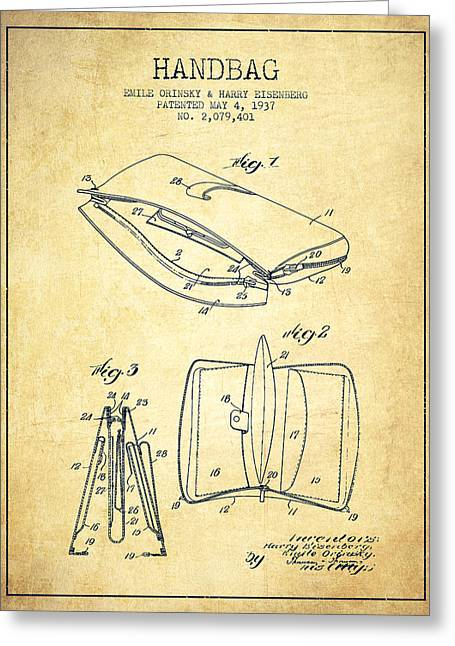 Handbag Greeting Cards - Handbag patent from 1937 - Vintage Greeting Card by Aged Pixel