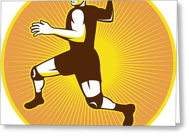 Throwing Digital Greeting Cards - Handball Player Jumping Throwing Ball Scoring Retro Greeting Card by Aloysius Patrimonio