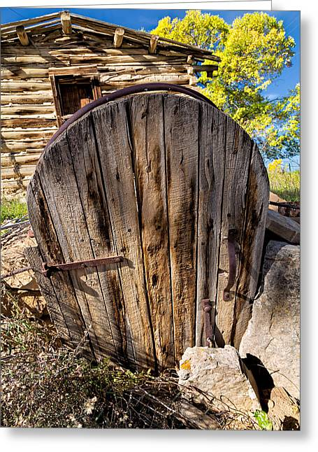 Basement Art Greeting Cards - Handcrafted Root Cellar Door Greeting Card by Kathleen Bishop