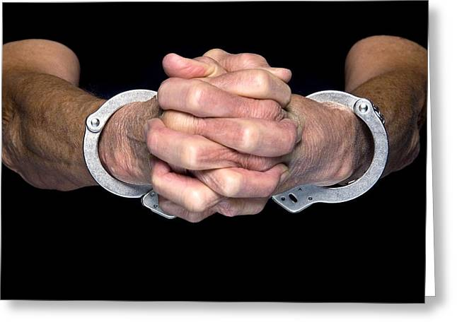Manacles Greeting Cards - Handcuffed person Greeting Card by Joe Belanger
