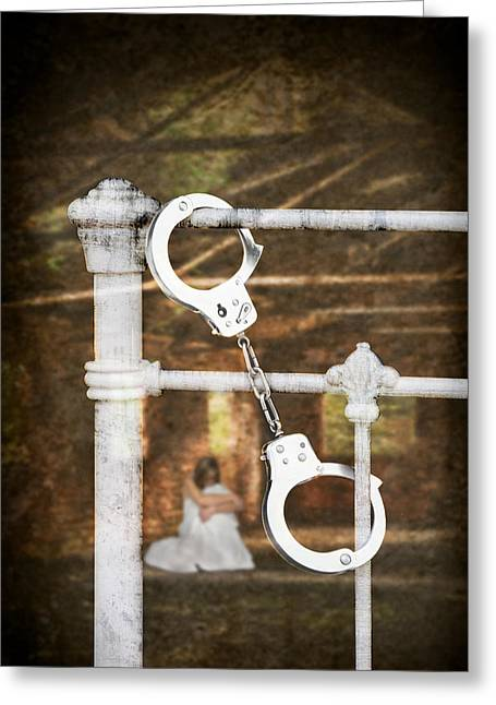 Cuff Greeting Cards - Handcuffs On Bed Greeting Card by Amanda And Christopher Elwell
