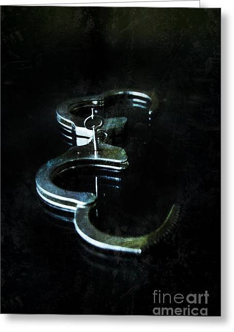 Handcuff Greeting Cards - Handcuffs on Black Greeting Card by Jill Battaglia