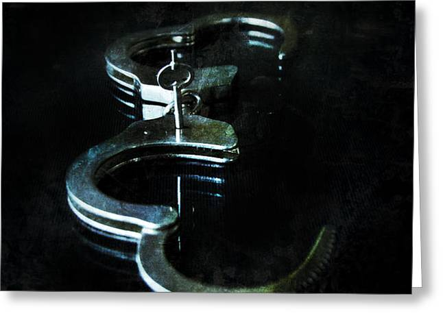Handcuffs on Black Greeting Card by Jill Battaglia