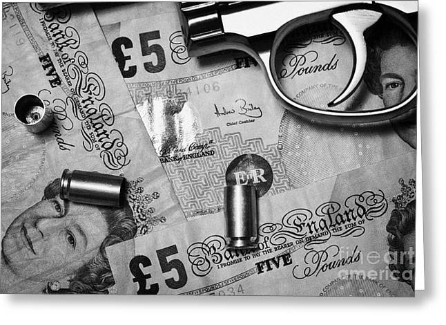 Reform Greeting Cards - Handgun On British Pounds Cash With Used 9mm Shells Greeting Card by Joe Fox