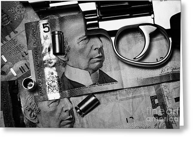 Reform Photographs Greeting Cards - Handgun On Canadian Dollars Cash With Used 9mm Shells Greeting Card by Joe Fox