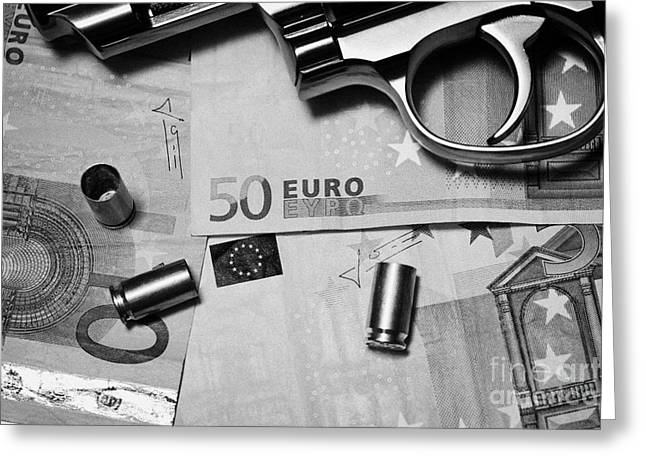Reform Photographs Greeting Cards - Handgun On Euros Cash With Used 9mm Shells Greeting Card by Joe Fox