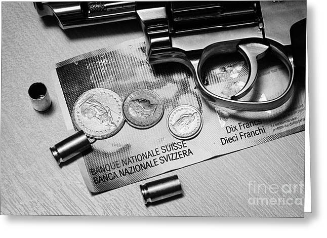 Reform Greeting Cards - Handgun On Swiss Francs Cash With Used 9mm Shells Greeting Card by Joe Fox