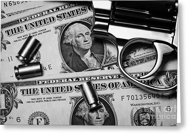 Reform Photographs Greeting Cards - Handgun On Us Dollars Cash With Used 9mm Shells Greeting Card by Joe Fox
