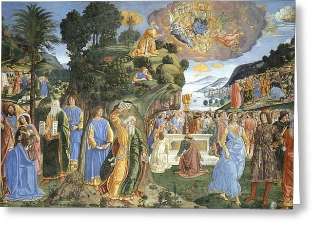 Tablets Of Law Greeting Cards - Handing over of the Tablets of the Law Greeting Card by Cosimo Rosseli