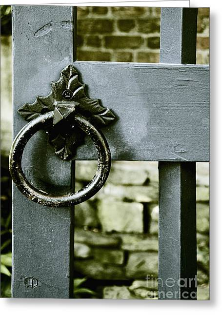 Painted Garden Gate Greeting Cards - Handle on Blue Greeting Card by Margie Hurwich