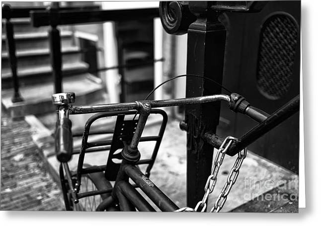 Handlebar Greeting Cards - Handlebars mono Greeting Card by John Rizzuto