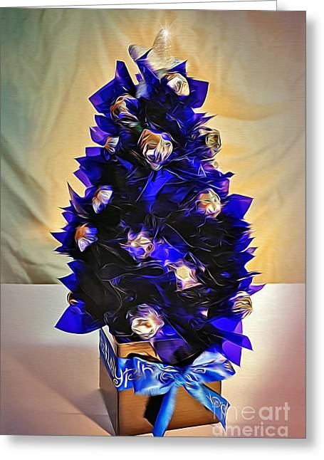 Hand Made Greeting Cards - Handmade Christmas Tree with Chocolates Greeting Card by Kaye Menner