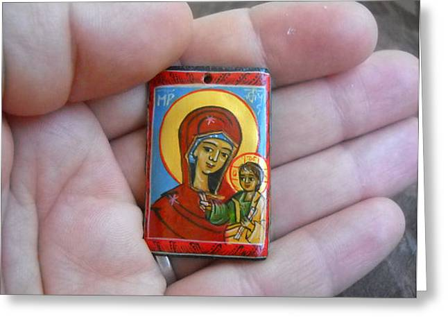 Icon Jewelry Greeting Cards - Handmade miniature icon Virgin Mary with child Jesus Greeting Card by Denise Clemenco