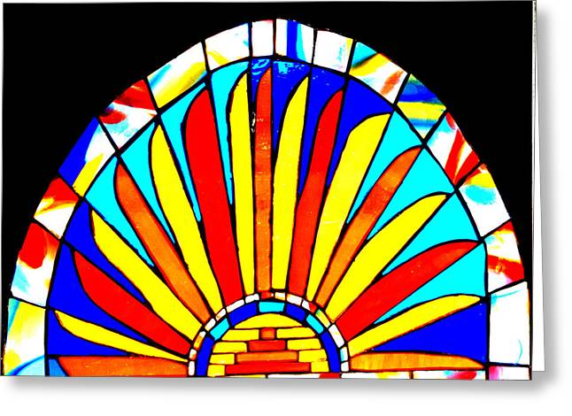 Colorful Photography Glass Greeting Cards - Handmade Sun Stained Glass Greeting Card by Rebecca Tkaczyk