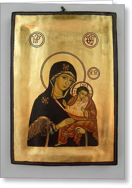 Artowrk Greeting Cards - Handpainted orthodox holy icon Madonna with child Jesus Greeting Card by Denise Clemenco