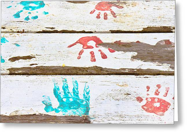Painted Wood Photographs Greeting Cards - Handprints Greeting Card by Tom Gowanlock