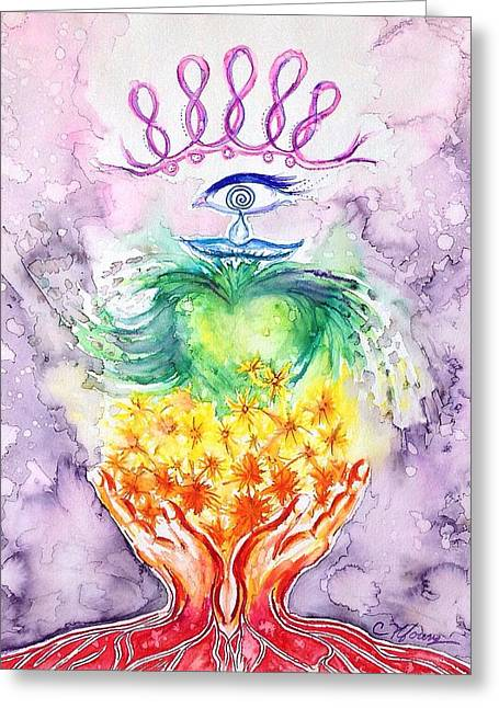 Chakra Rainbow Greeting Cards - Hands and Heart Chakra Doodle Greeting Card by Christine Kfoury