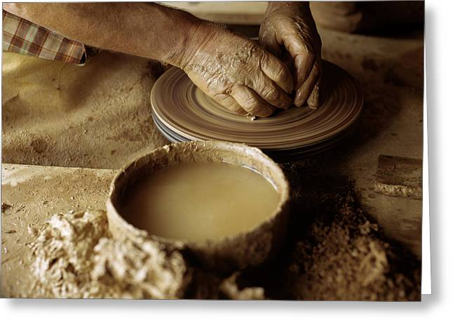 Dexterous Greeting Cards - Hands At The Pottery Wheel © Luis Greeting Card by Tips Images