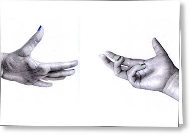 Hyperrealism Drawings Greeting Cards - Hands Greeting Card by Barbara Bright