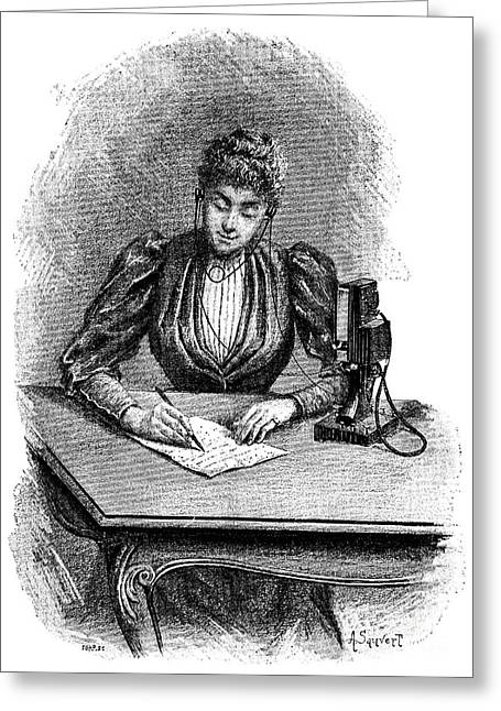 Written French Greeting Cards - Hands-free Telephone, 19th Century Greeting Card by Spl