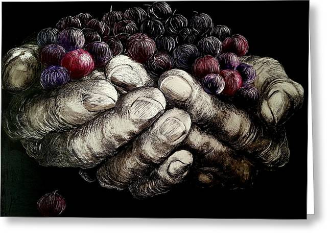 Symbolic Gesture Greeting Cards - Hands Full Greeting Card by Jan Lowe