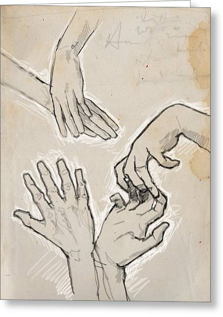 Hands Greeting Card by H James Hoff