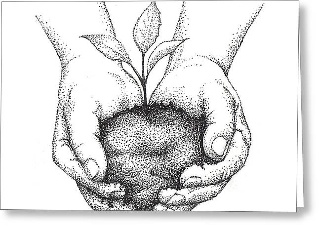 Seedling Greeting Cards - Hands Holding Seedling Greeting Card by Christy Beckwith