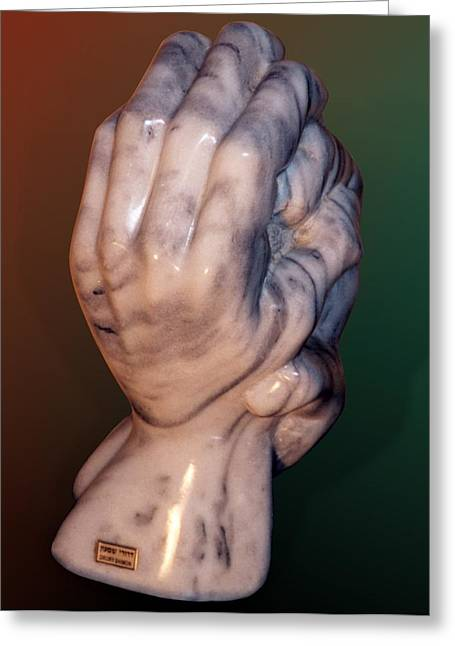 Figurative Sculptures Greeting Cards - Hands of a sculptor Greeting Card by Shimon Drory