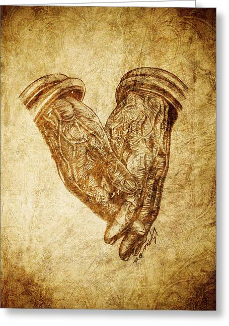 Praying Hands Greeting Cards - Hands of Age Greeting Card by Lucky Chen
