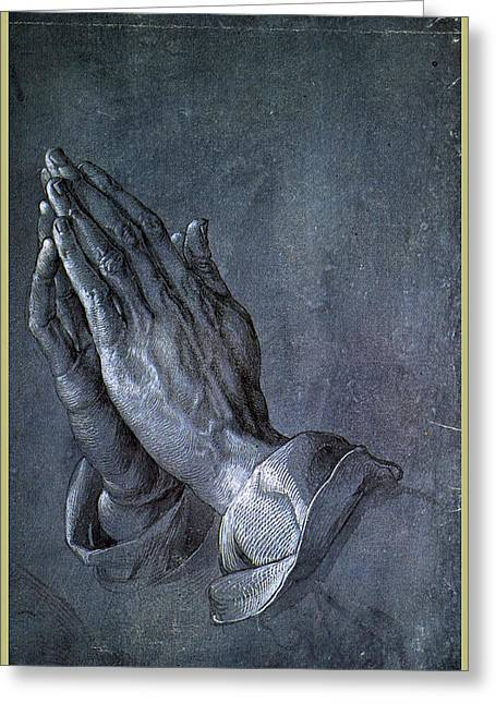 Catholic Drawings Greeting Cards - Hands of an Apostle 1508 Greeting Card by Philip Ralley