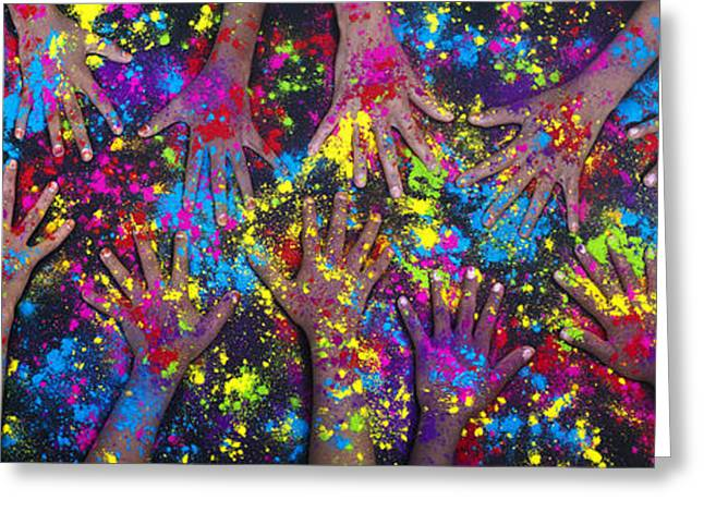 Powder Greeting Cards - Hands of Colour Greeting Card by Tim Gainey