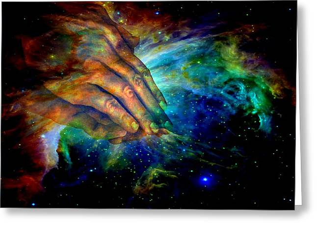 Religious Mixed Media Greeting Cards - Hands of creation Greeting Card by Evelyn Patrick