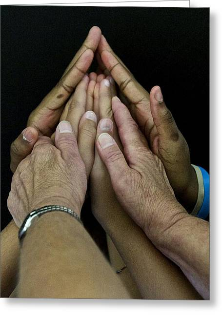 Praying Hands Greeting Cards - Hands Of Praise Greeting Card by Mark Holden