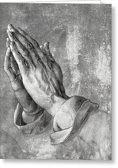Praying Hands Greeting Cards - HANDS of PRAYER  1508 Greeting Card by Daniel Hagerman