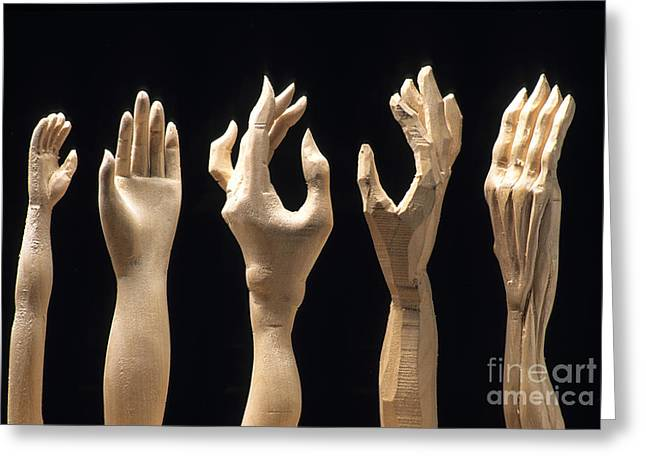 Wood Cutters Greeting Cards - Hands of wood puppets Greeting Card by Bernard Jaubert
