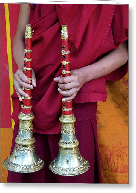 Hands Of Young Monk Holding Ceremonial Greeting Card by Ellen Clark