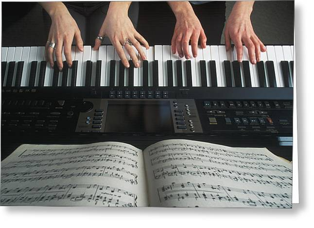 Hands On Keyboard Greeting Card by Kelly Redinger