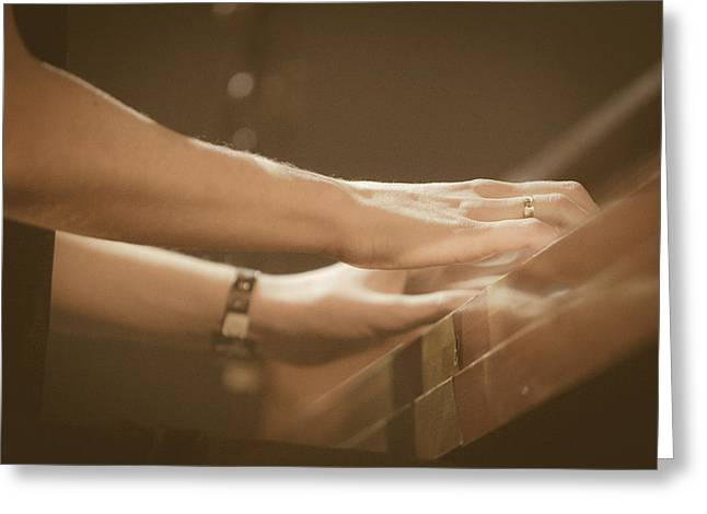 Diamond Bracelet Photographs Greeting Cards - Hands Playing Piano Greeting Card by Joel  Bourgoin