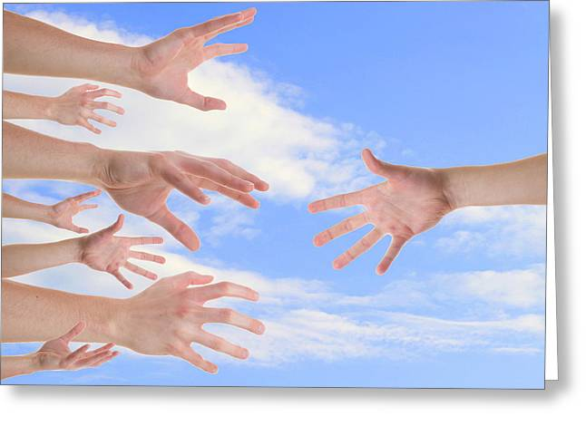 Take-out Greeting Cards - Hands reaching for a helping hand Greeting Card by   CursedSenses