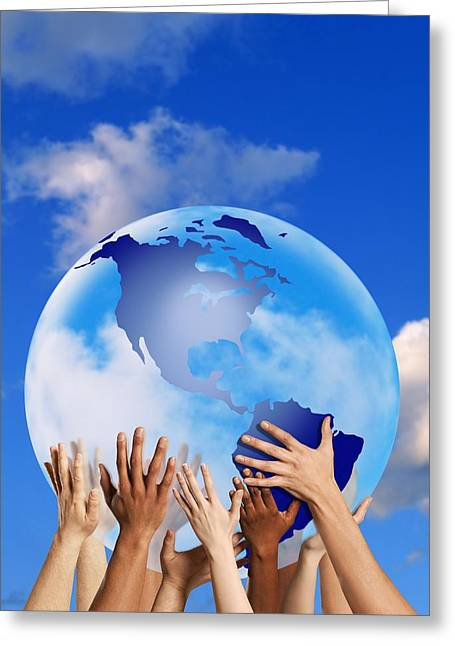 Ethnic Diversity Greeting Cards - Hands Touching A Globe Greeting Card by Don Hammond