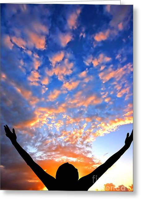 Feeling Young Greeting Cards - Hands up to the sky showing happiness Greeting Card by Michal Bednarek