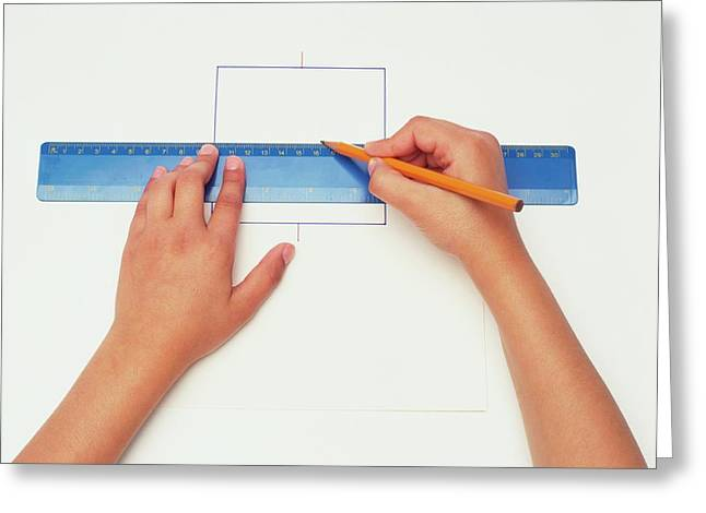 Hands Using Pencil And Ruler Greeting Card by Dorling Kindersley/uig