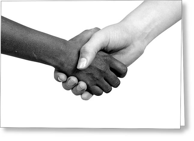 Multi-ethnic Greeting Cards - Handshake Black and White Greeting Card by Chevy Fleet