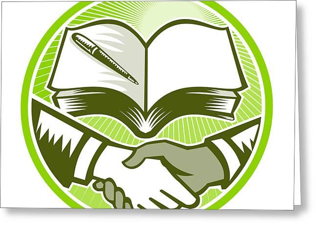Negotiating Greeting Cards - Handshake Book Pen Woodcut Circle Greeting Card by Aloysius Patrimonio